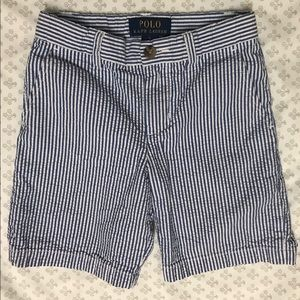 Boys Size 5 Seersucker Polo Shorts Good Condition